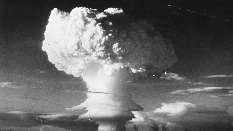 Mushroom cloud forming after U.S.A first  H-Bomb explosive.