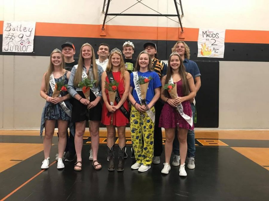 2017 homecoming court poses for a picture.