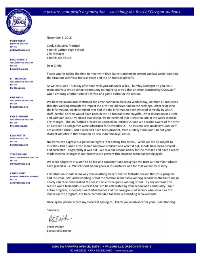 Letter from OCAA that was given to football player regarding their mistake