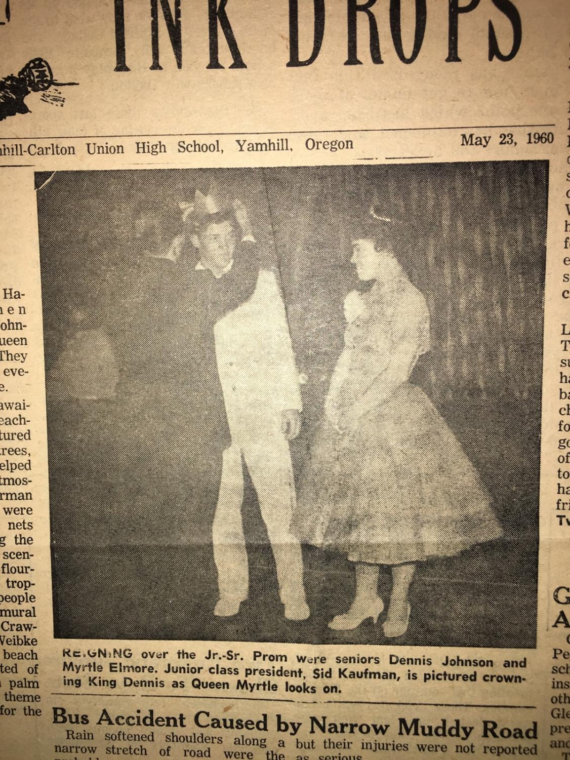 Photo of the prom king & queen 1960
