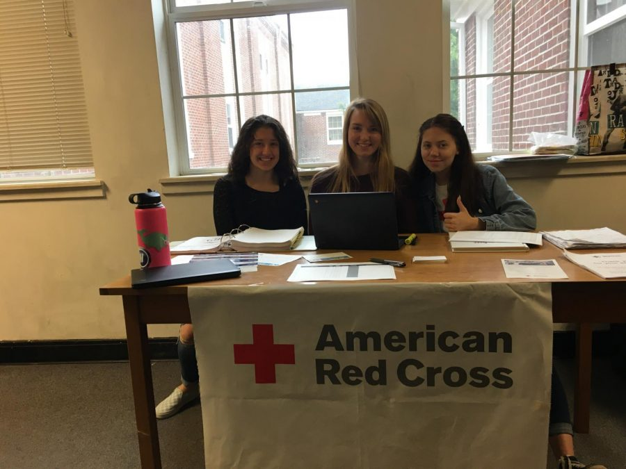 Grace+Armstrong%2C+Audrey+Potter%2C+and+Gabrielle+Chambers%3B+NHS+members+running+the+check-in+table+for+the+blood+drive
