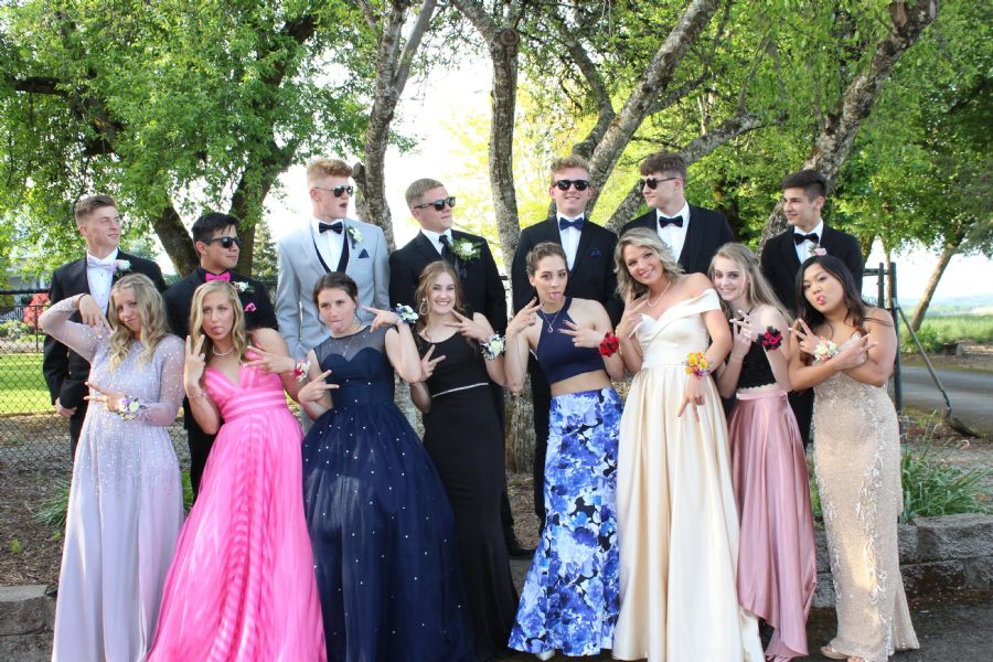 This friend group pauses for a group photo before heading off to prom; this year's prom theme was