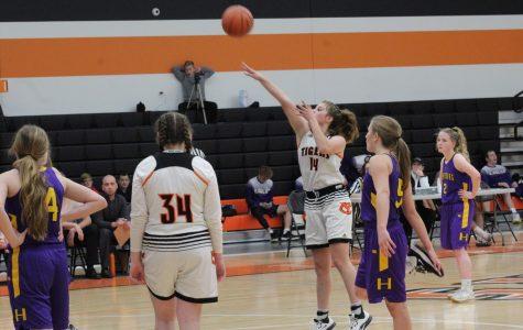 Sophomore Olivia Davison attempts a free throw. Photo By: Lajla Raske