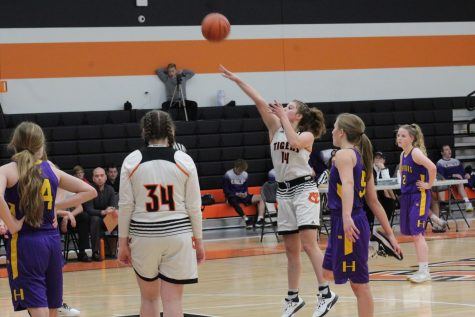 Sophomore Olivia Davison attempts a free throw. Photo By: Lajla Raske