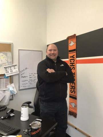 Principal Clint Raever at his desk in Yamhill Carlton high school