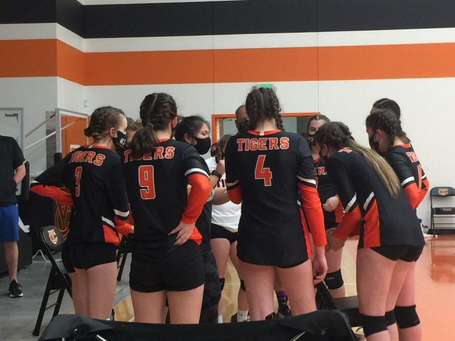 The YC girls volleyball team huddle up during a game. These huddle up times are often good times of communication, showing how the team works well together!