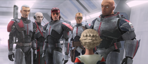 Here we see all of the members of the Bad Batch in a cloning facility on Kamino. Featured from left to right are Crosshair, Echo, Hunter, Echo, Omega, and Wrecker.